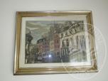 Immagine di Dipinto olio su tela con cornice in legno dorato e argentatoraffigurante Parigi, 0,50x0,70 a firma Mazzon.