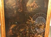 """Dipinto olio su tela raffigurante """"interno di tempio con sacerdote, figure e angeli"""""""
