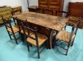 Fall. Ristorante 3 Pini Sas n. 579/2016 - Tavolo fratino in legno 176 x 74 con due cassetti + 8 sedie in legno con seduta impagliata